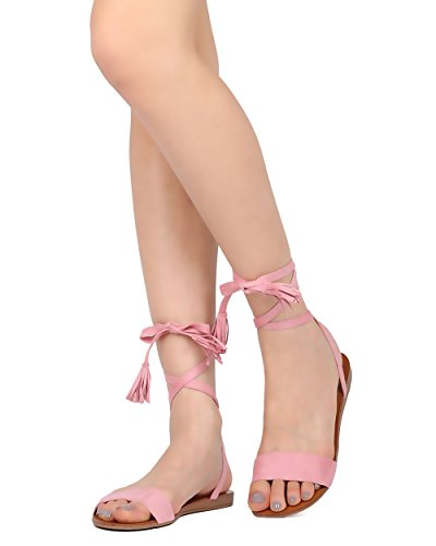 Sandalo Gladiatore Con Lacci Da Donna - Casual, Elegante, Elegante - Sandalo Piatto Nappato - Gg45 By Faux Suede Rosa