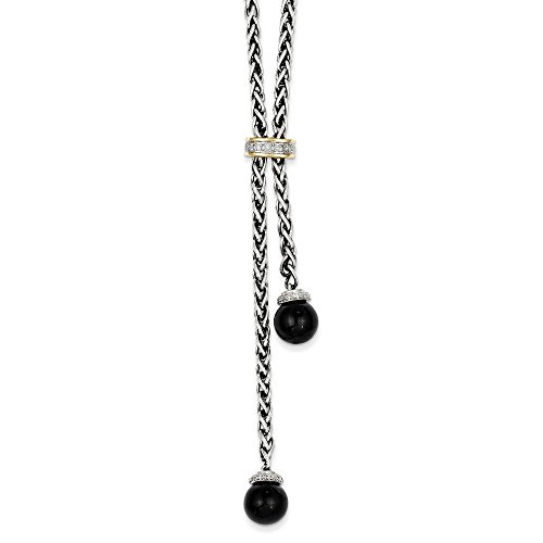 Sterling Silver and 14k Gold Onyx Diamond Lariat Necklace 18in - Onyx Diamond Enhancer
