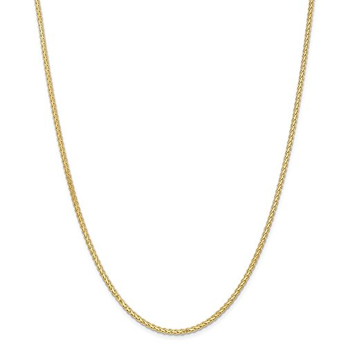 (14K Yellow Gold 2.5mm Flat Wheat Chain Necklace, 24