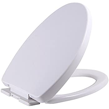 No Slam Toilet Seat Easy Close White Plastic Elongated