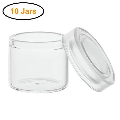 10pcs - 6ml Glass Concentrate Containers with Clear Silicone Lids for Oil, Cosmetics, Gram Jars, Dab Jars