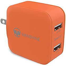 iPhone Charger 24W 4.8A Wanshine Smart Dual Port USB Travel Wall Charger for iPhone iPad, Samsung Galaxy, HTC Nexus Moto Blackberry(Charges Fast and Quickly) - Orange