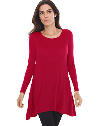 Chico's Women's Button-Sleeve Tunic Size 12/14 L (2) Red
