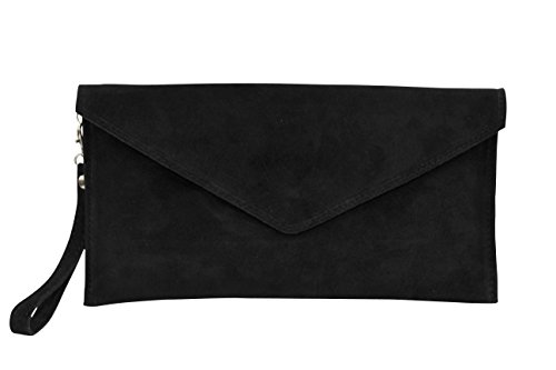 AMBRA Moda Damen Wildleder Envelope Clutch Handschlaufe Handtasche Schultertasche Unterarmtasche Damentasche Veloursleder WL801
