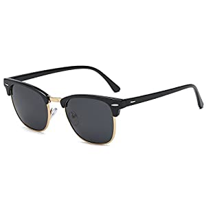 SojoS Clubmaster Semi Rimless Polarized Sunglasses Clear Lens Eyeglasses SJ5018 SJ1043 SJ2019 With Black Frame/Grey Lens