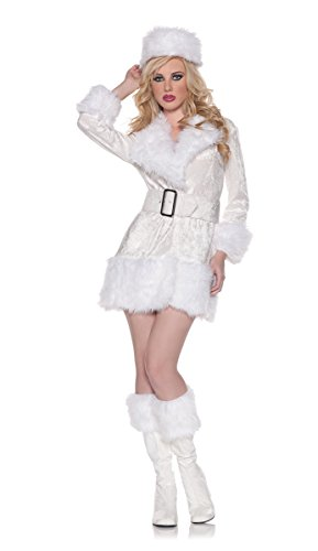 Russian Spy Halloween Costumes (Women's Sexy Winter Russian Costume - White Russian, White, Medium)