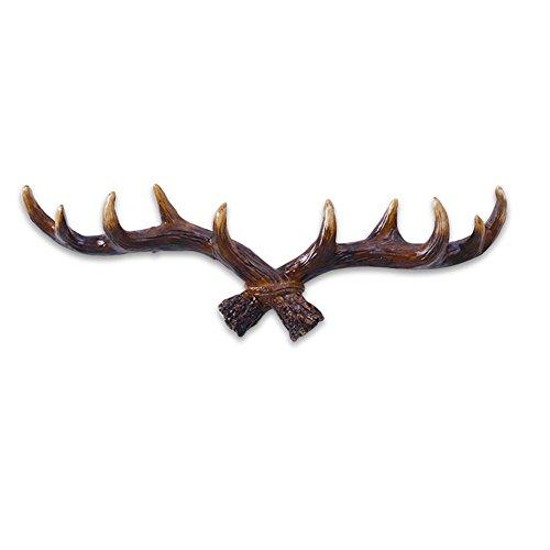 HaloVa Wall Hook, Vintage Deer Antlers Resin Wall Hanger, Easy Installing Quality Decorative Hanger Rack, Perfect for Livingroom Bedroom Cloth Shop Cafe, Dark Color