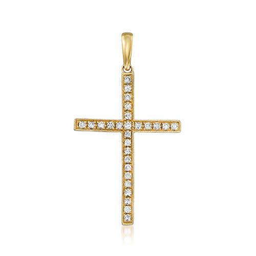 Ross-Simons 0.30 ct. t.w. Diamond Cross Pendant in 18kt Yellow Gold