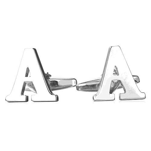 U7 Men's 1 Pair Set Cuff Links Wedding Business Shirt Studs 2 pcs Gold Plated Alphabet Initial Letter A Cufflinks