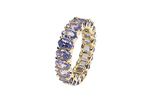Albert Hern 5.11 ct Natural Tanzanite Eternity Ring 14kt Yellow Gold Band for Women Size 7 | Ideal for Weddings, Engagement, Bridal Set, Valentine's Day, Anniversary & Birthday Gift