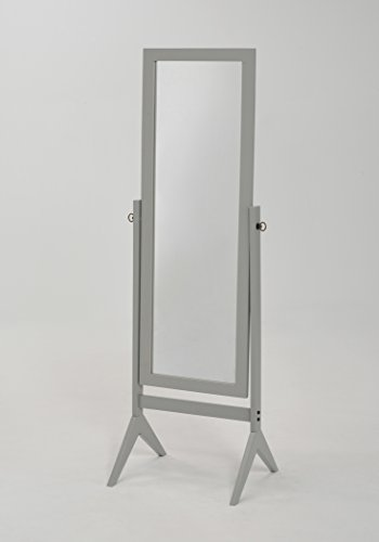 Grey Finish Wooden Cheval Bedroom Floor Mirror