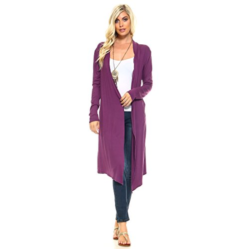 - Isaac Liev Trendy Extra Long Duster Soft Cardigan (Large, Light Plum)