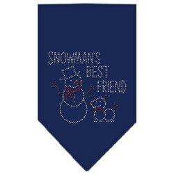 Snowman's Best Friend Rhinestone Bandana Navy Blue Small (Snowmans Best Friend Rhinestone)