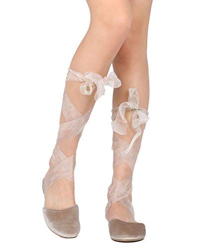 Cape Robbin Juliet-3 Sandalo In Velluto Con Lacci Donna - Casual, Elegante, Costume - Impacco Alla Caviglia In Argento Piatto