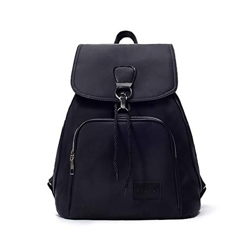 ZOORON Waterproof Drawstring Vintage Backpack Purse Rucksack With Adjustable Straps (Black-2)