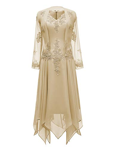 tutu.vivi V-Neck Chiffon Tea Length Mother of The Bride Dress Long Sleeves Lace Formal Evening Gowns with Jacket Champagne Size14