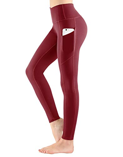 ESPIDOO High Waist Yoga Pants with Pockets for Women Tummy Control Non See-Through 4 Way Stretch Yoga Leggings, Wine Red, XXL
