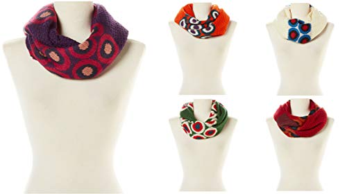 5 Pack - Women Circle Abstract Design Knit Infinity Winter Scarf Set