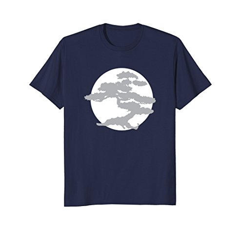 Bonsai Tree t shirt with White Sun Japanese Karate Zen ()