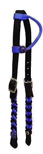 - Crystal Conchos Braided Nylon Horse Simple Barrel Racing 1 Ear Headstall Bridle (Royal Blue)