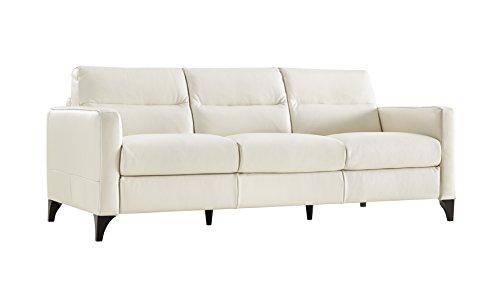 Genuine Leather Sofa (Isacco Cream Leather Stationary Sofa)