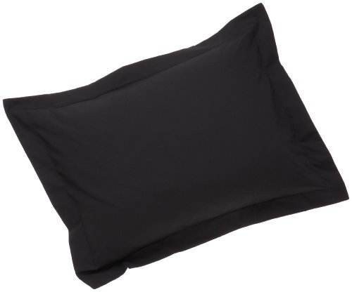 Fresh Ideas Standard Tailored Poplin Pillow Sham, Black Black Standard Sham