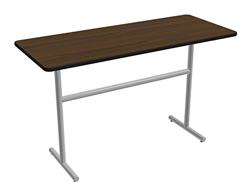 Nomad by Palmer Hamilton ATT423072-MWMSPVC Pub Height Fixed Leg Standard Weight Aero T Base Table with Glides, Metallic Silver Frame, Black PVC, Rectangular, 72