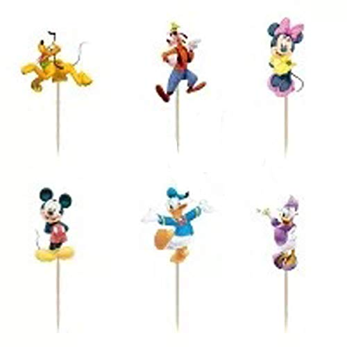 Chaoiwah 24pc Mickey Mouse Cupcake Toppers for Birthday Party Event Decor -