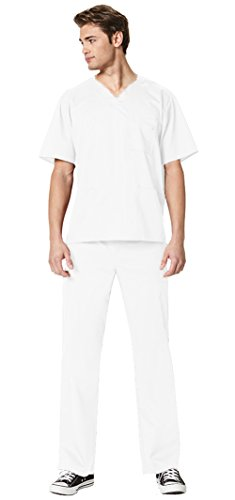 WonderWink Men's WonderWork Top 103 and Straight Leg Cargo Pant 503 Scrub Set (White - XX-Large / XXL Short) by WonderWink