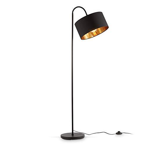 B.K.Licht Staande LampI zwart-gouden stoffen kap I draaibar I retro I E27 I 1 lichts I stoffen kap 30 cm I 140 cm snoer…