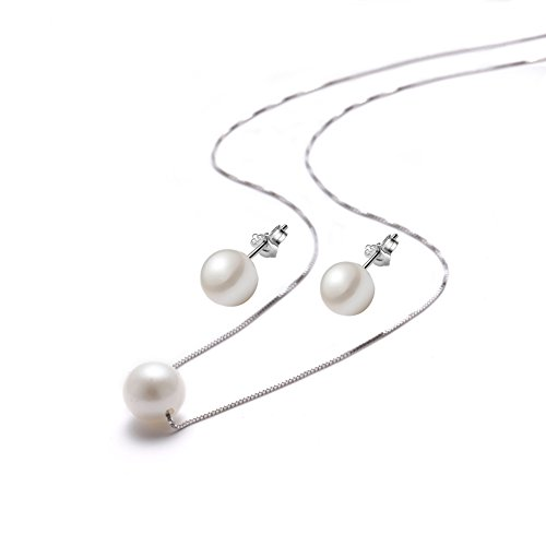 Bridesmaids Pearl Necklaces Pendant Stud Earrings Set White Single faux Pearl 925 Sterling Silver Necklace for Women Girls Chain,18''