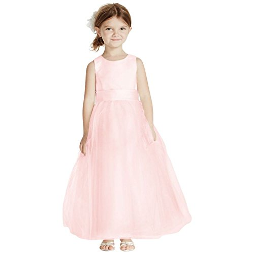 David's Bridal Satin Flower Girl/Communion Dress with Tulle Skirt Style S1038, Petal, 7 by David's Bridal