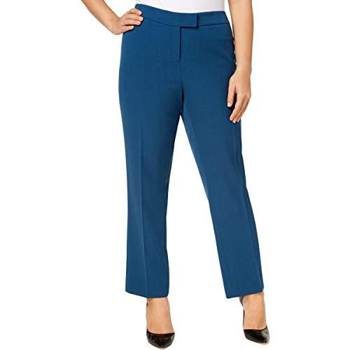 Anne Klein Womens Plus Crepe High-Rise Straight Leg Pants Blue 18W
