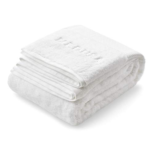 Luxurious White Bath and Spa Towels Extra Large 35.5 x 71 Inch 100% Cotton - Ultra Soft Bathroom Towel for Shower Gym Pool Swimming or Bathing - Highly Absorbent Premium Quality