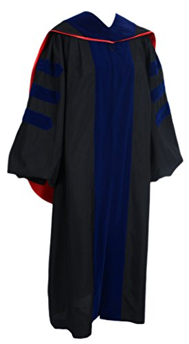 GraduationForYou Deluxe Classic Doctoral Graduation Gown and Hood Package Unisex Phd Gown (D Ph Graduation Gown)