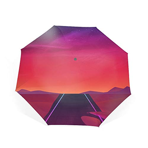 Automatic Compact Travel Umbrella with Reverse and Safe Lock Design, Teflon Auto Open Close Folding Strong Windproof Fluorescent Dust Umbrella