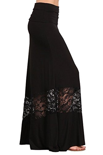 HEYHUN Womens Casual Tie Dye Solid Boho Hippie Long Maxi Skirt w Lace Detail - Black - ()
