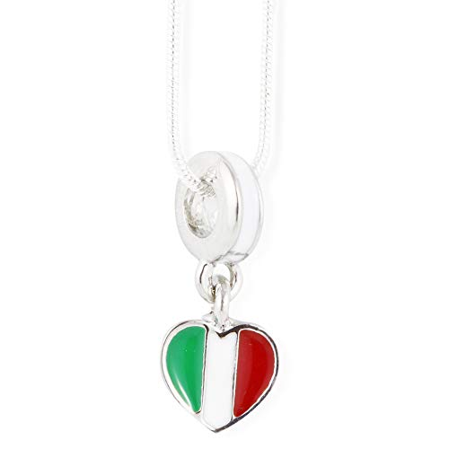 Emerald Park Jewelry Italian Flag Necklace | Pendant Charm Gift for Kids Women Men Girls Italians and Boys Italy Country Gifts Stuff Accessories Heart Decor