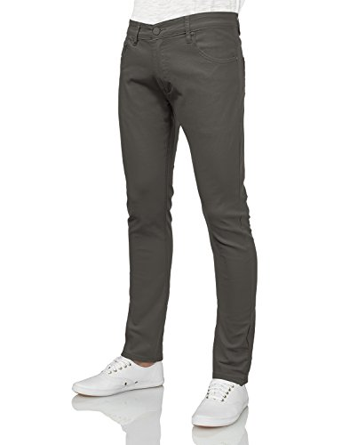 9XIS Mens Basic Casual Colored Skinny Cotton Twill Pants,Charcoal,30W x 30L Twill Pants Jeans