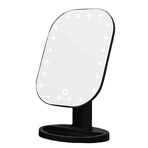 Makeup Mirror, Vanity Mirror with Lights Led Bathroom Mirror with Touch Screen Dimming, Table Countertop Cosmetic Mirror Portable, Black from IUMÉ