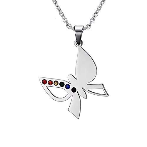 HoBST Stainless Steel Gay & Lesbian Pride Pendant Rainbow Butterfly LGBT Necklace for Men Women