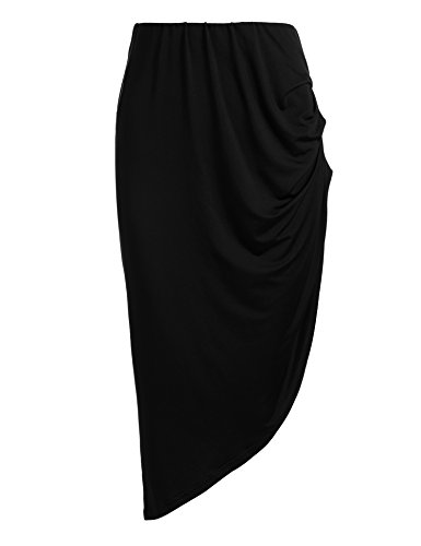 ANGVNS Women's High Waist Pleated Skirt Stretchy Irregular Slits Pencil Skirt (Pencil Ruched Back Skirt)