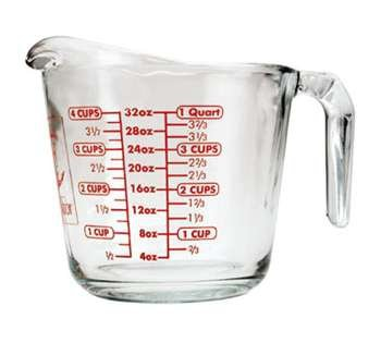 Measuring Cup, 32 Oz., Glass, Fully Tempered, Sure Guard Guarantee, Red, (4 Pieces/Unit)