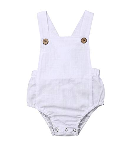 doublebabyjoy Newborn Baby 1 Piece Summer Romper Baby Girl Boy Solid Color Romper Sleeveless Backless Jumpsuit Overalls Outfits (White,3-6 Months) ()