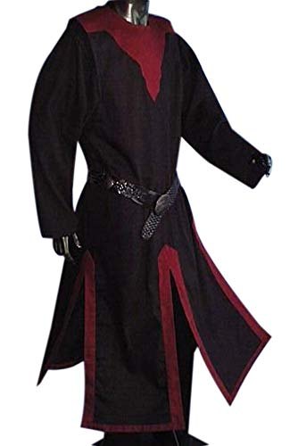 Black Adult Medieval Knight Tunic Sleeveless Surcoat Red Strip Reenactment Tabard LARP -