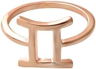 SENFAI 12 Zodiac Sign Constellation Finger Ring Rose Gold Color Horoscope Astrology Disc Ring