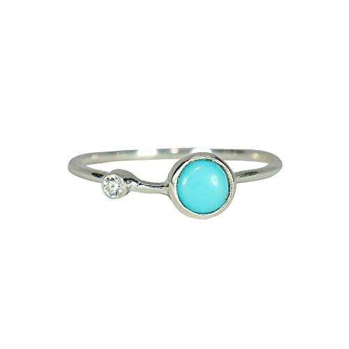 (Pura Vida Turquoise Double Stone Ring Size 8 - .925 Sterling Silver Ring)
