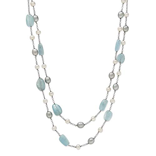 - Natural Aquamarine & Cultured Freshwater Pearl Layered Station Chain Necklace