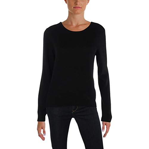 Juicy Couture Black Label Womens Cashmere Ribbed Trim Pullover Sweater Black XS