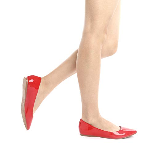 Slip pat Toe Shoes Red Flats PAIRS Women's Classic Soft Fancy Pointed Casual Comfort DREAM Ballet Sole On PwaqRgx
